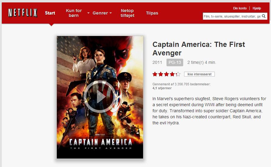 Captain America er blot en af de mange film du kan få adgang til.